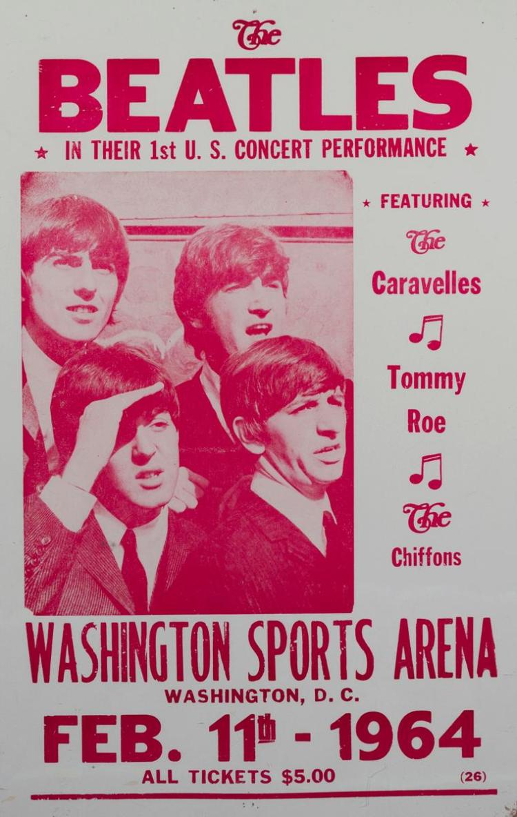 The Beatles, concert poster from Washington Sports Arena, 1964