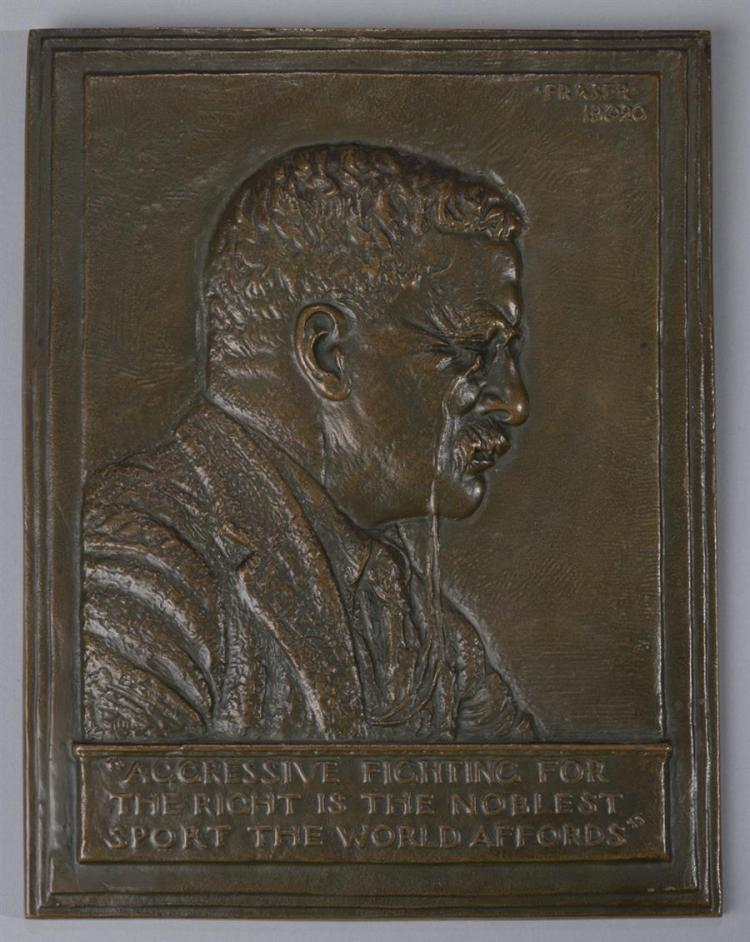 James Fraser, American (1876-1953), Portrait plaque of Theodore Roosevelt, 1920, bronze, 12 3/4 x 10 inches