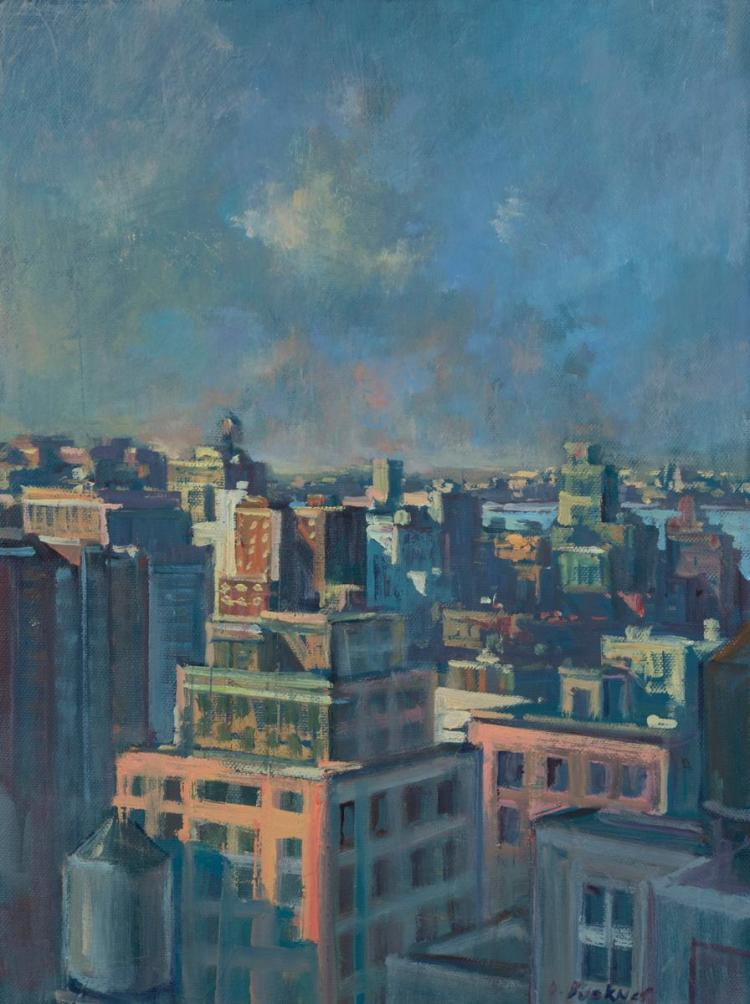 Derek Buckner, American (b. 1970), Rooftops #4, 2005, oil on canvas, 16 x 12 inches