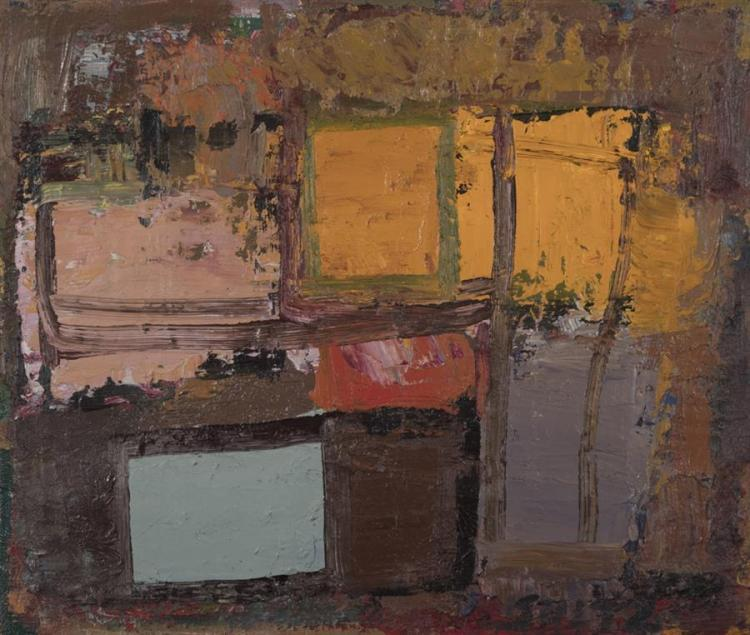 Phil Sultz, 20th century, Temple, 1989, oil on canvas, 14 x 12 inches