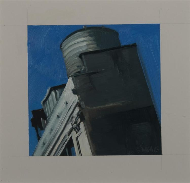 Stephen Magsig, 20th century, Ohio, Duane Street Rooftops, 2003, oil on paper, 6 x 6 inches