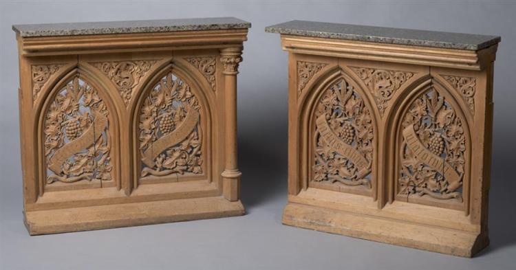 Pair Of Marble Top Gothic Elements