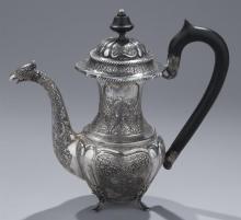 Persian Hand Engraved .875 Silver Pot
