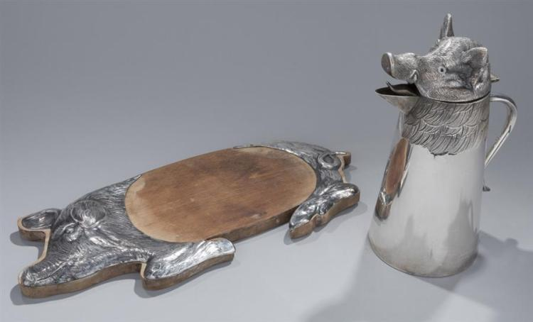 Plated Silver Boar Head Pitcher and Pig Tray