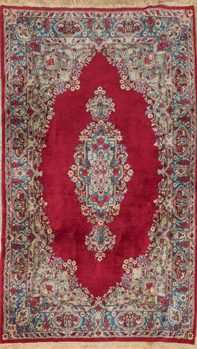 Three Persian Kirman Throw Rugs