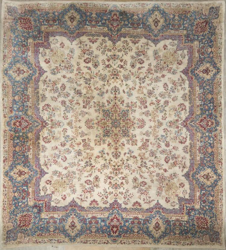 Handwoven Persian Kirman Room Rug Property from the estate of Carl G. and Alma C. Stifel