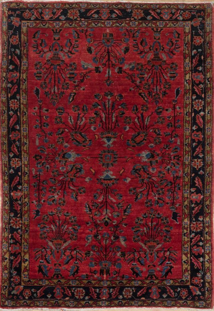 Handwoven Persian Sarouk Throw Rug