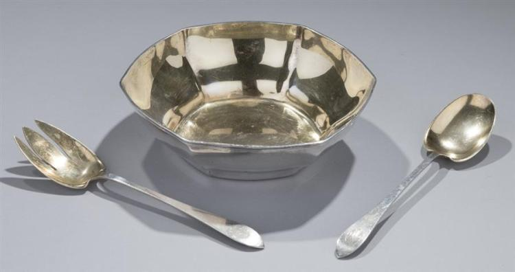 Tiffany & Co Sterling Silver Bowl and Salad Serving Set Property from the estate of Carl G. and Alma C. Stifel.