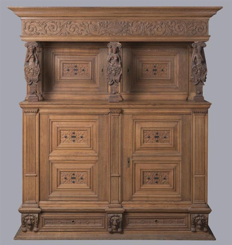 Antique Continental Carved Court Cupboard