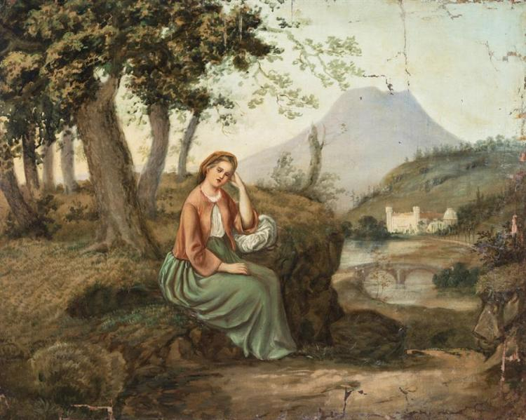 Continental School, 19th century, Contemplative young woman in a pastoral setting, oil on canvas, 26 x 21 inches