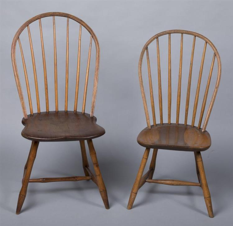 Assembled set of four bow back windsor chairs, circa 1790, New England