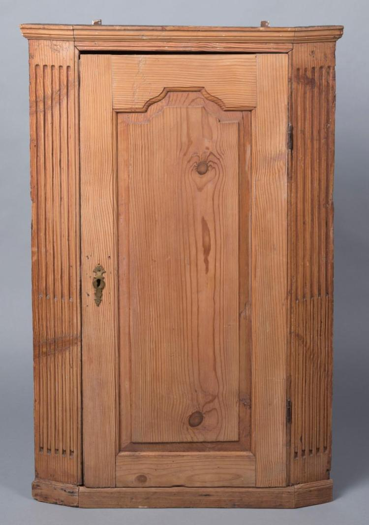 18th Century Hanging Corner Cupboard, yellow pine with stop fluting