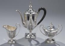 Shreve, Crump & Low, Boston, Sterling Silver Demitasse Coffee Set Property from the estate of Carl G. and Alma C. Stifel.