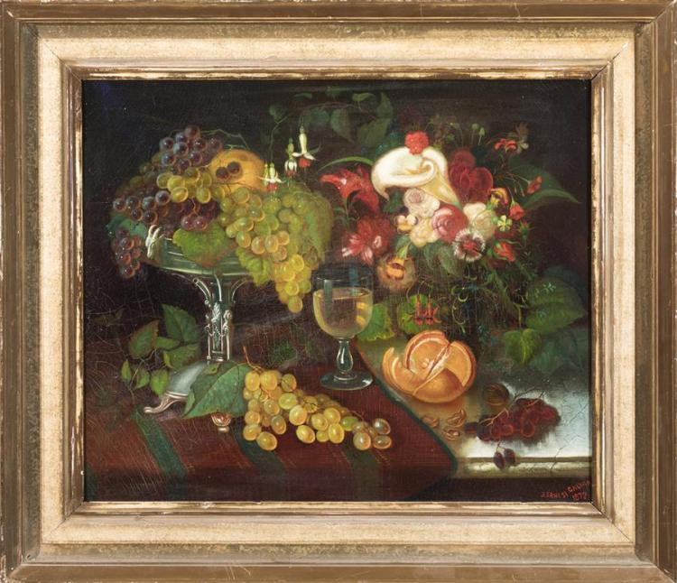 J. Ernest Galvan, American, early 19th century, Folk art still life with fruit and flowers, oil on canvas,