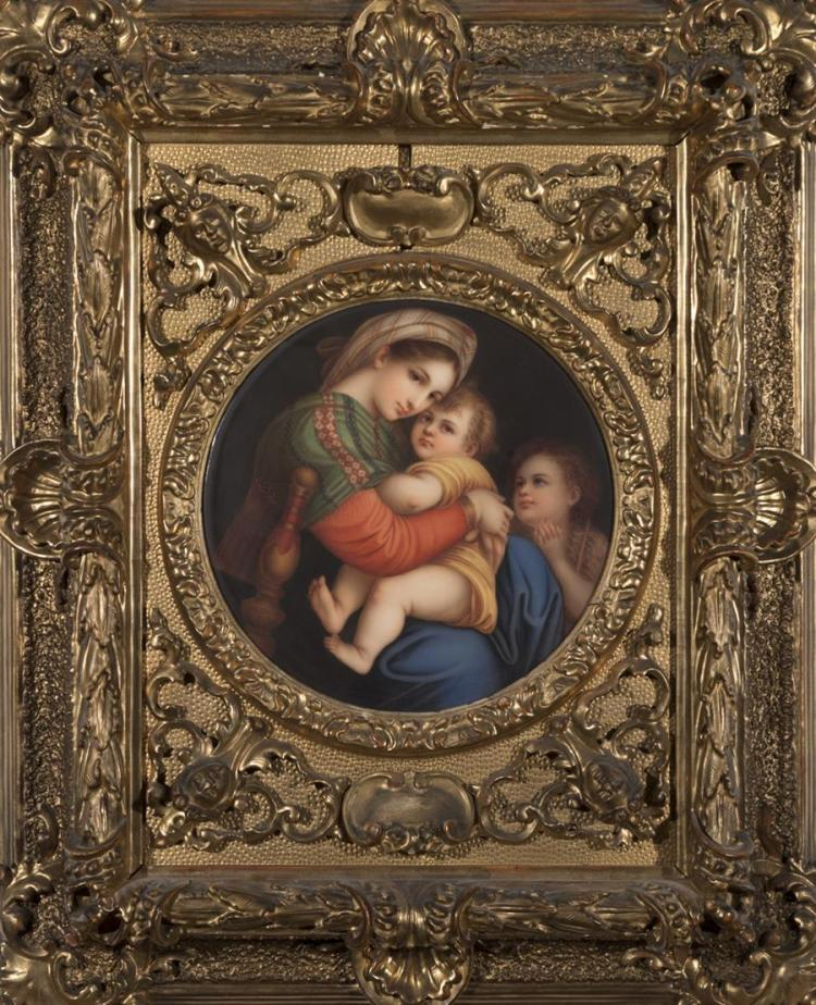 Italian hand painted porcelain placque depicting the Madonna Seggiola, Florence, after Raphael