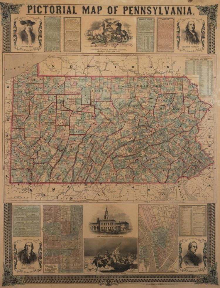 Pictorial Map of Pennsylvania, Ensign, Bridgeman and Fanning, New York, 1855