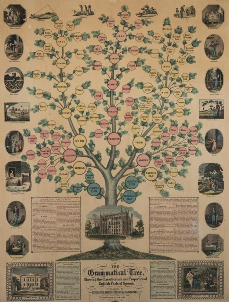 The Grammatical Tree, showing the Classification and Properties of English Parts of Speech, published by Ensign, Bridgman & Fanning,...