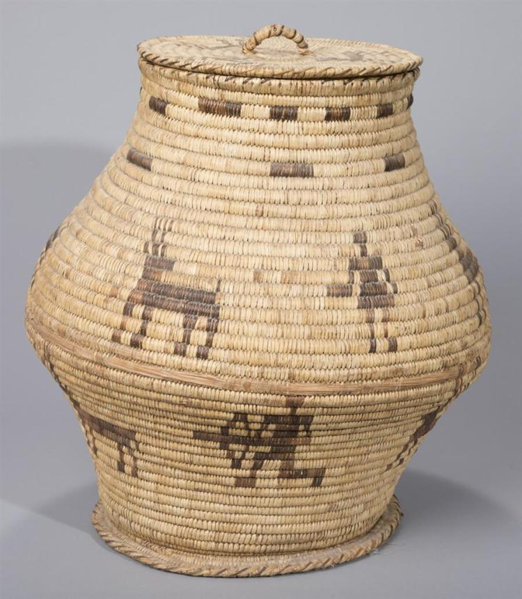 Large Native American Papago Coiled Covered Basket