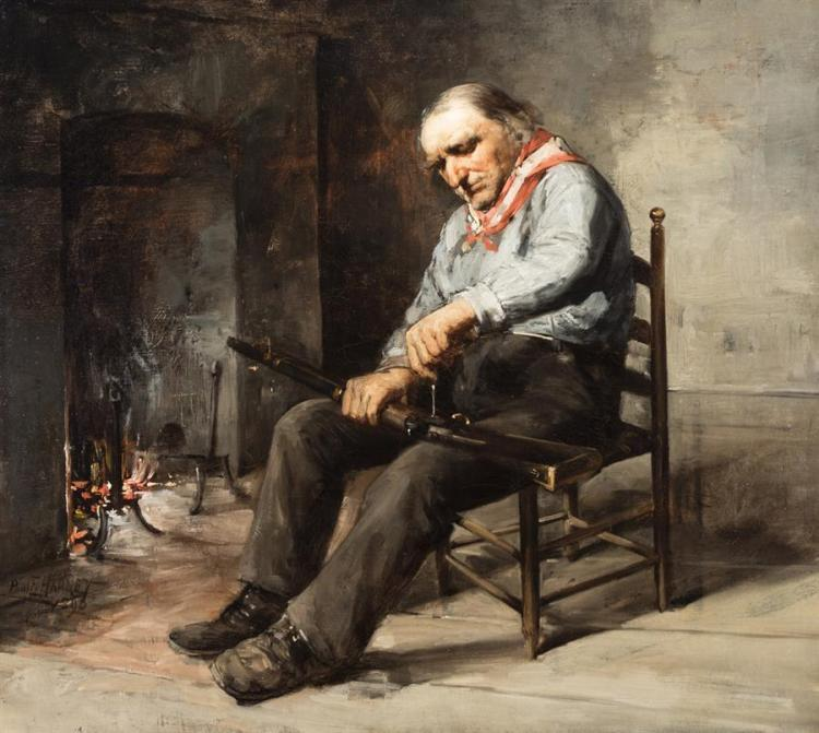 Paul E. Harney, Jr., American (1850-1915), Man beside a fireplace cleaning a gun, 1890, oil on canvas, 18 x 20 inches