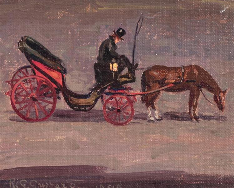 Rodolfo Guzzardi, (1903-1962), Horse drawn carriage with driver, 1949, oil on canvas,