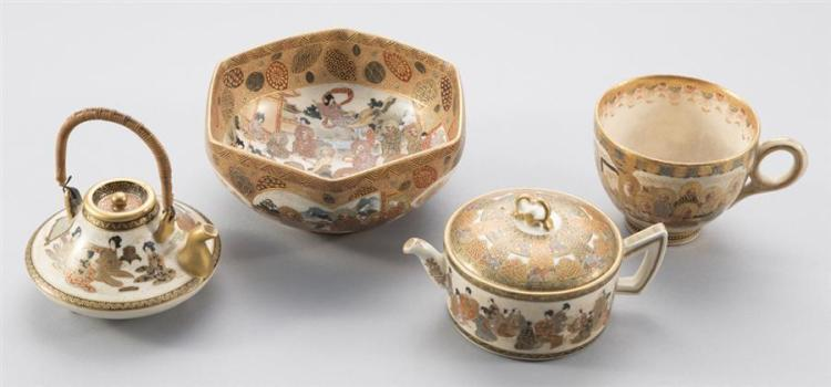 Four Pieces Japanese Satsuma Pottery