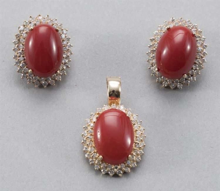 Carnelian and diamond suite including a pair of earrings and a pendant