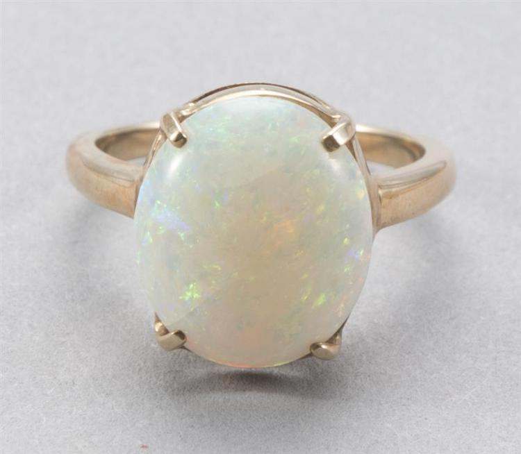 Ladies harlequin pinfire opal ring in 14k yellow gold setting