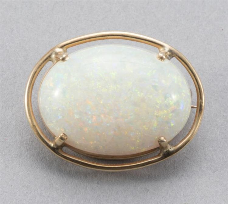 Harlequin Pinfire Opal Brooch Set in 14k Yellow Gold