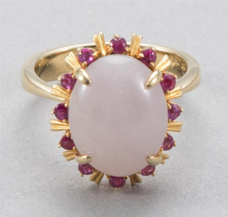 Pastel lavender jade ring surrounded by 12 round rubies