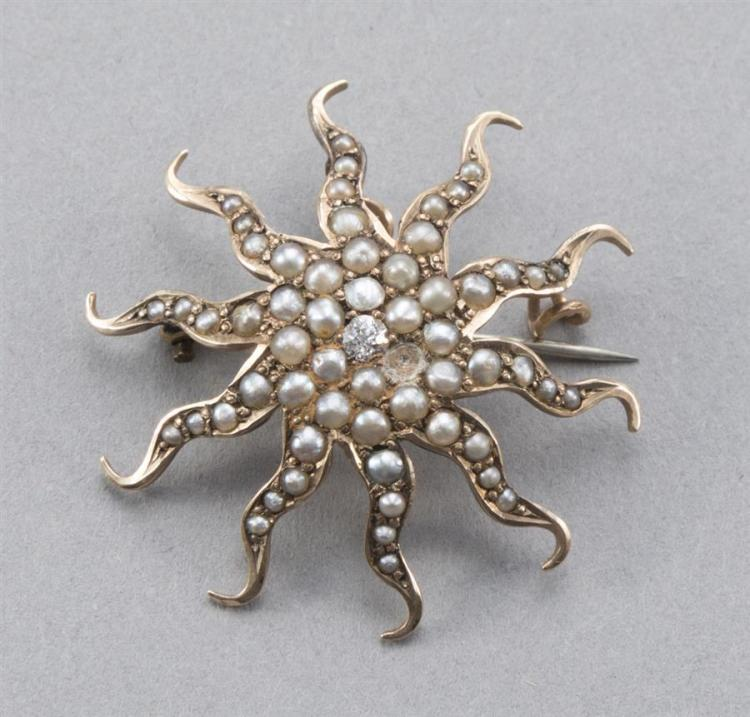Sunburst pin/pendant set with seed pearls and small diamonds