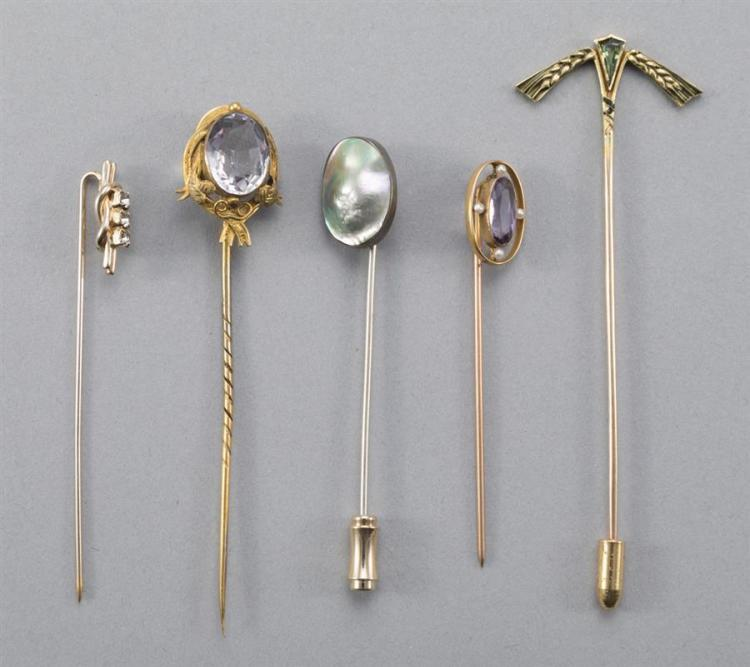 Group of Five Vintage Stickpins