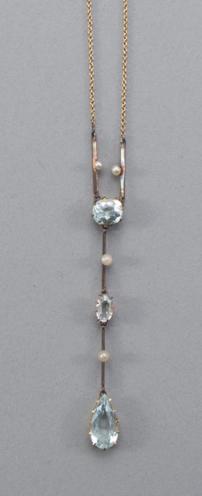 Vintage pastel aquamarine and seed pearl lavaliere