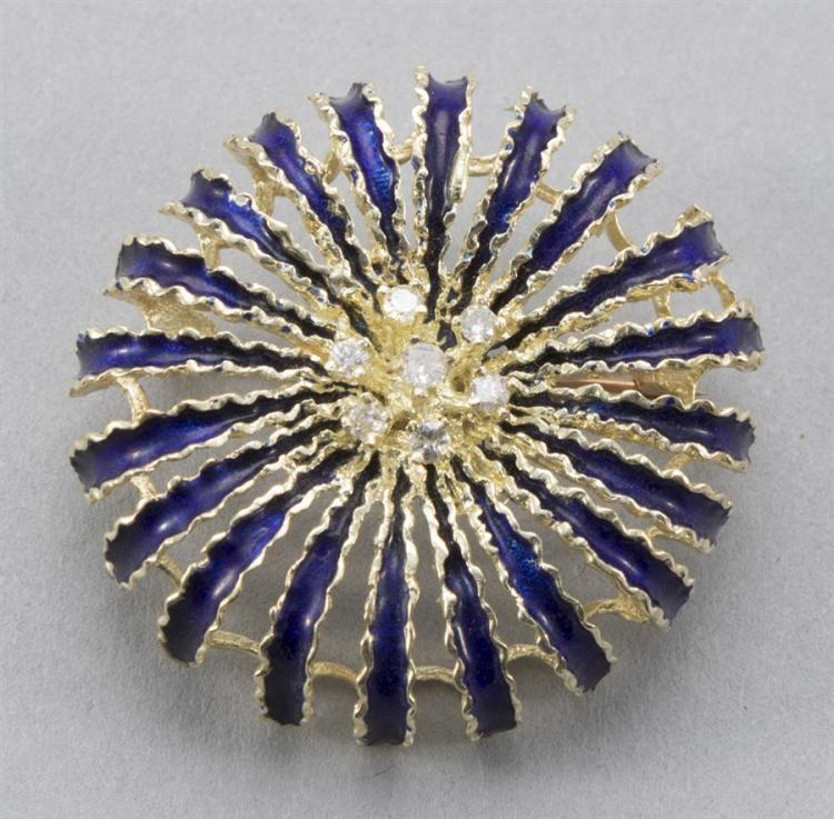 Gold, enamel and diamond sunburst brooch