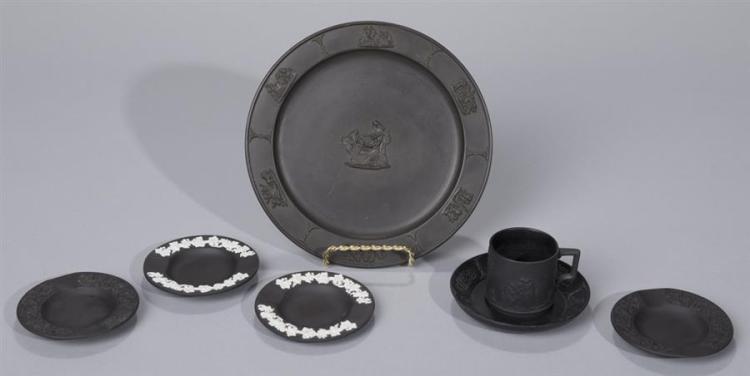 Seven Pieces of Wedgwood Black Basalt and Jasperware