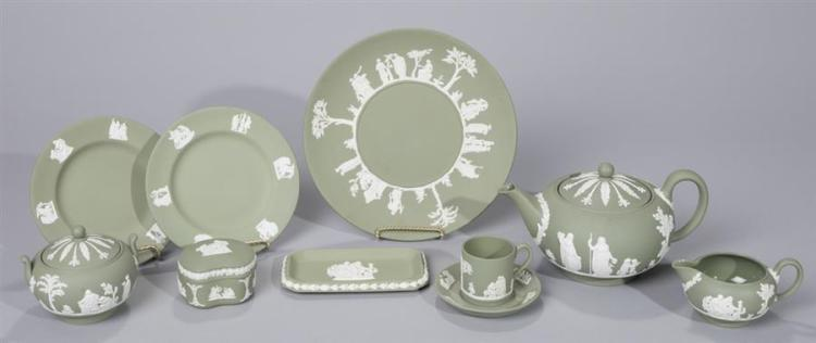 Ten Pieces of Wedgwood Solid Sage and White Jasperware