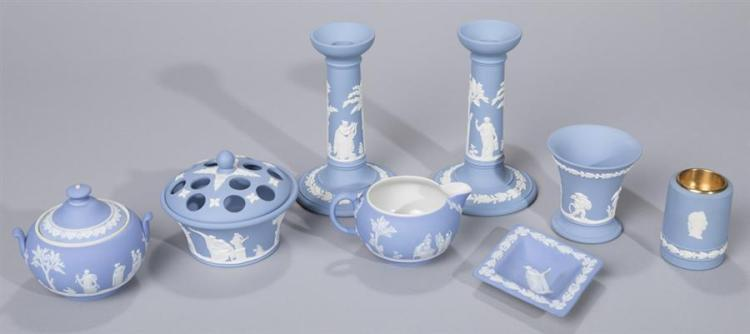 Eight Pieces of Wedgwood Pale Blue and White Jasperware