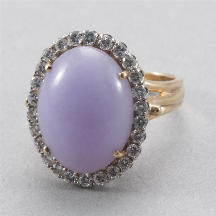 Lady''s Lavender Jade and Diamond Ring