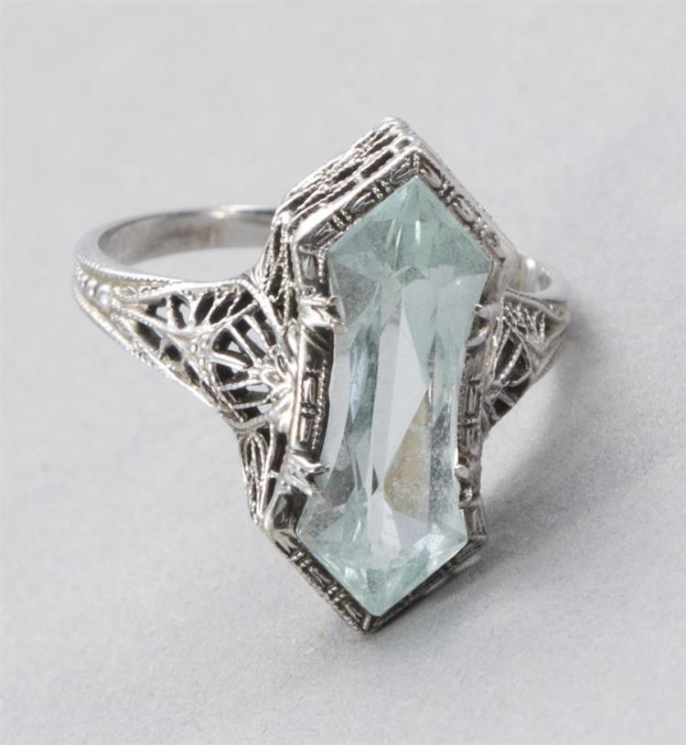 Lady''s Aquamarine and White Gold Ring, Circa 1900''s