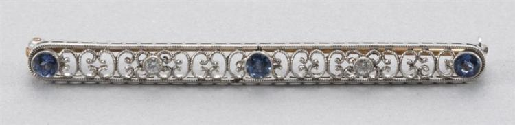Antique White Gold and Sapphire Bar Pin/Brooch