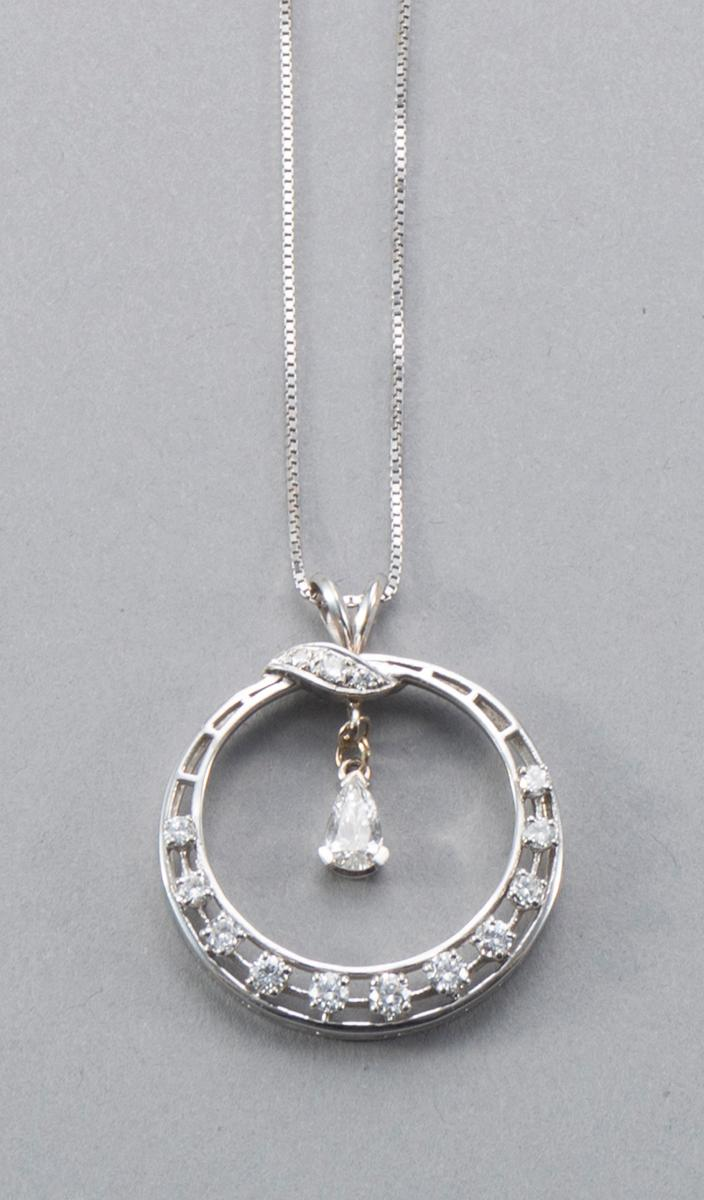 Circle Diamond and 14k White Gold Pendant With Chain