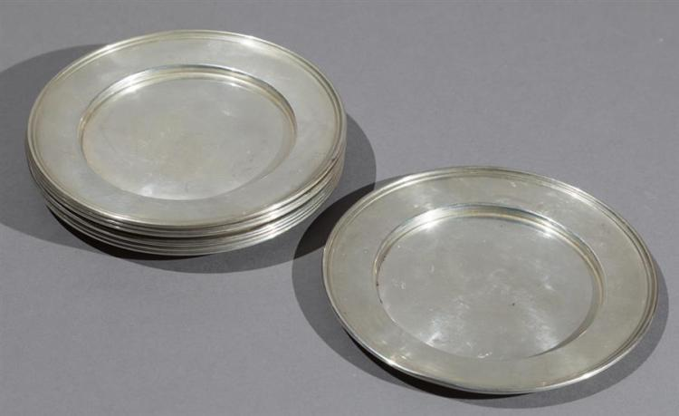 M Fred Hirsh Eight Sterling Silver Bread/Butter Plates