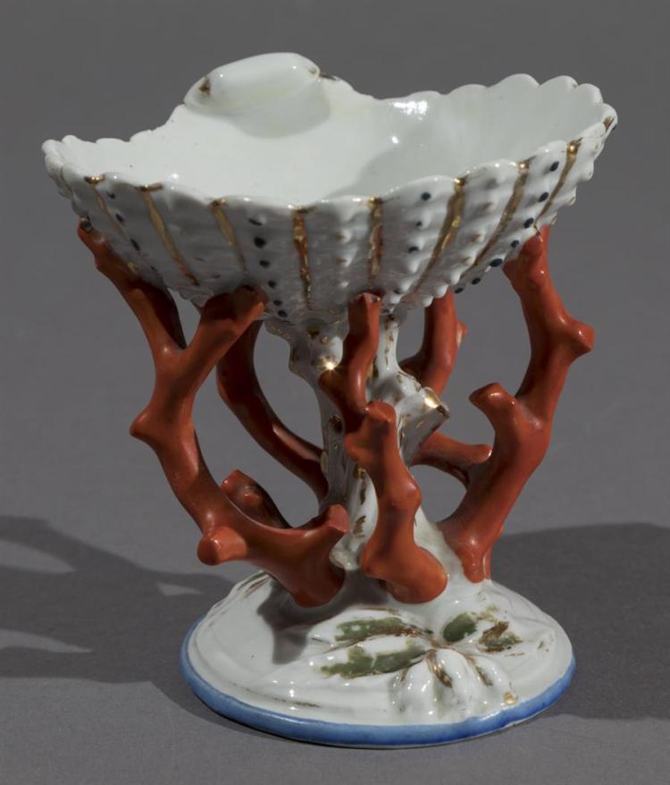 Antique Paris Porcelain Shell and Coral Salt Cellar