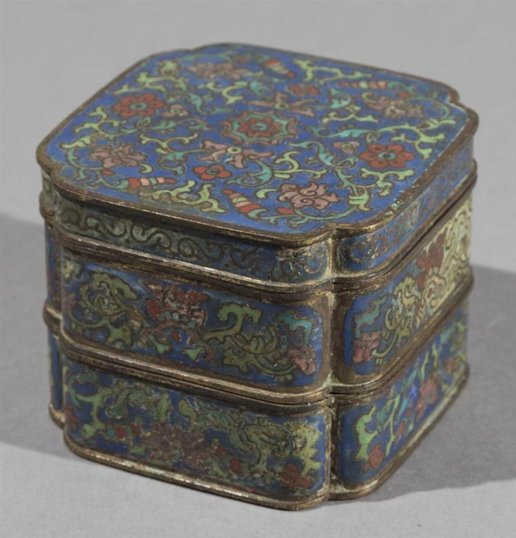 Antique Chinese Gilt Copper and Cloisonne Enamel Stocking Box