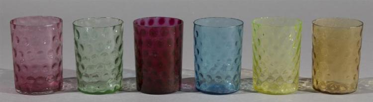 Set of Twelve Blown to Mold Art Glass Tumblers, Inverted HOBNAIL Pattern