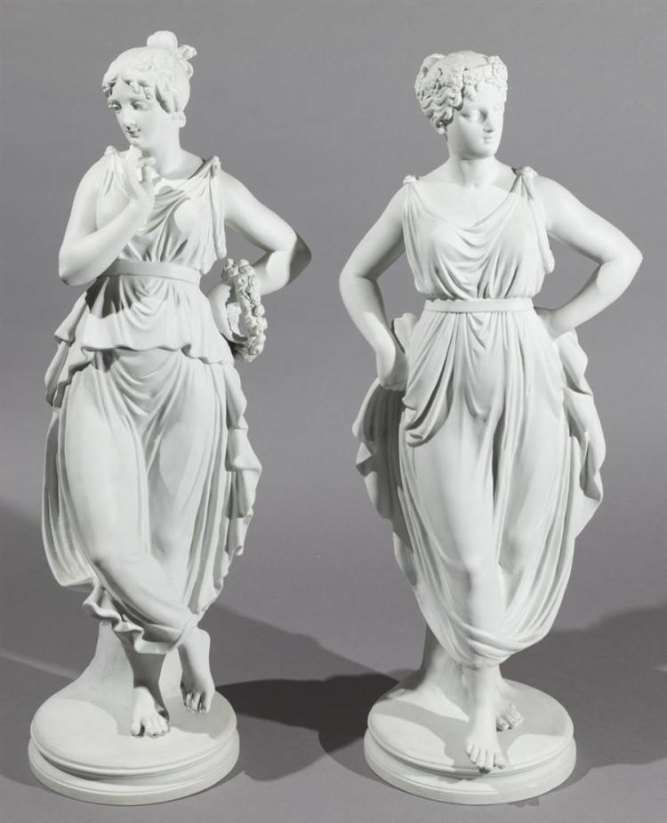 Pair of Parian Ware Classical Female Figures