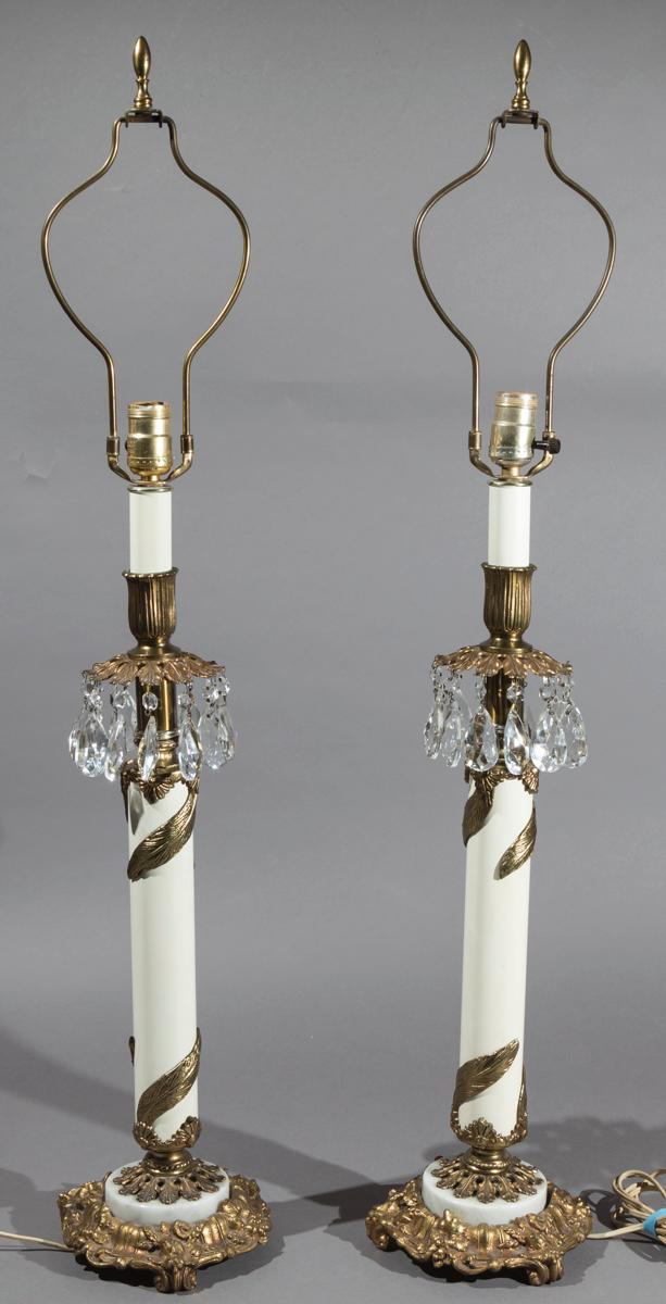 Pair of Gilt and White Metal Prismed Table Lamps