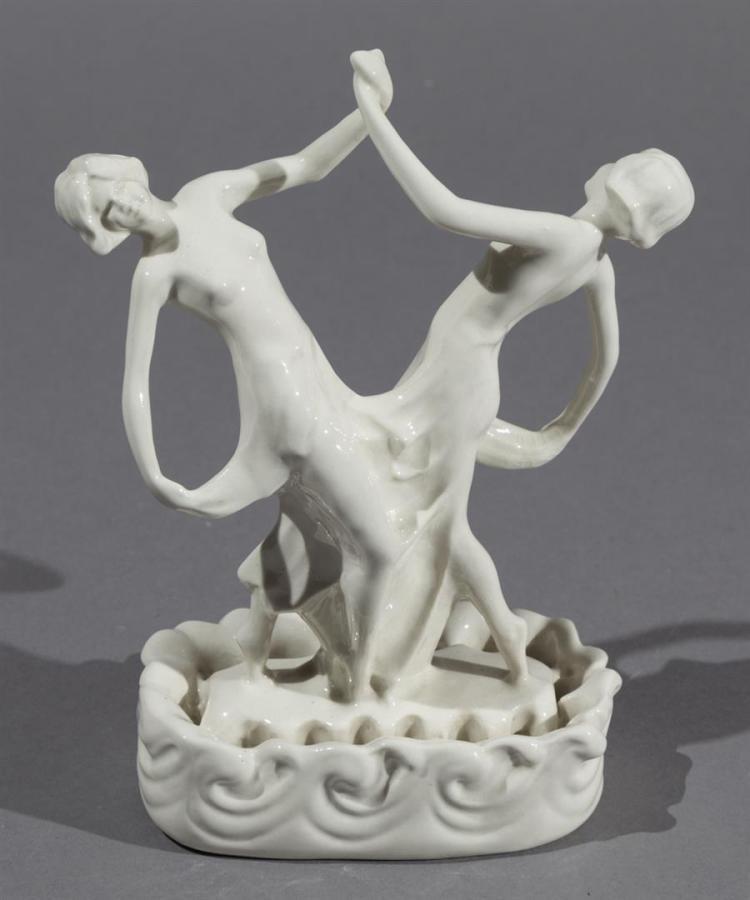 Cowan Art Deco White Glaze Ceramic Figural Flower Frog