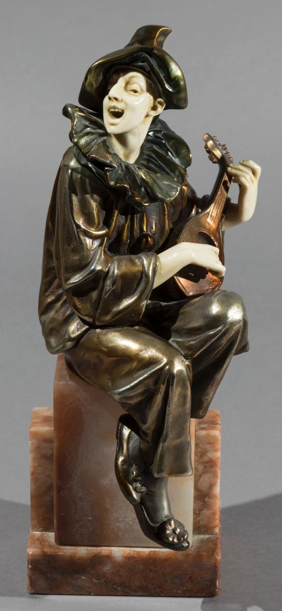 Bronze Harlequin Figure Playing Mandolin