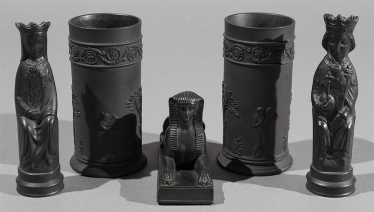 Five Pieces of Wedgwood Black Basalt