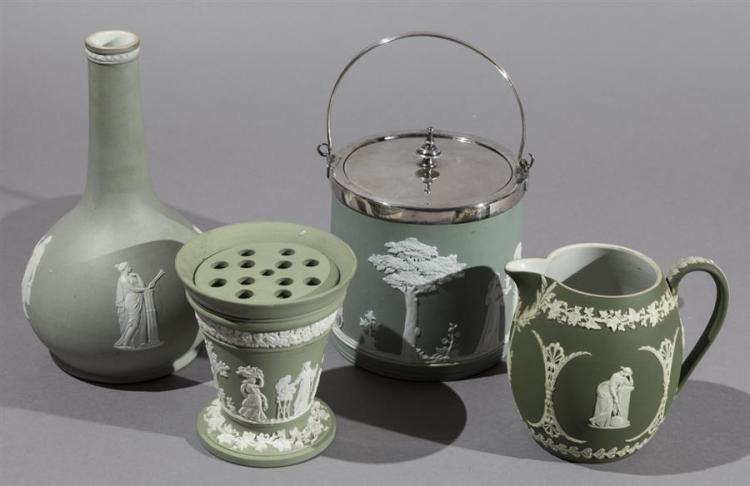 Four Wedgwood Green Jasperware Items